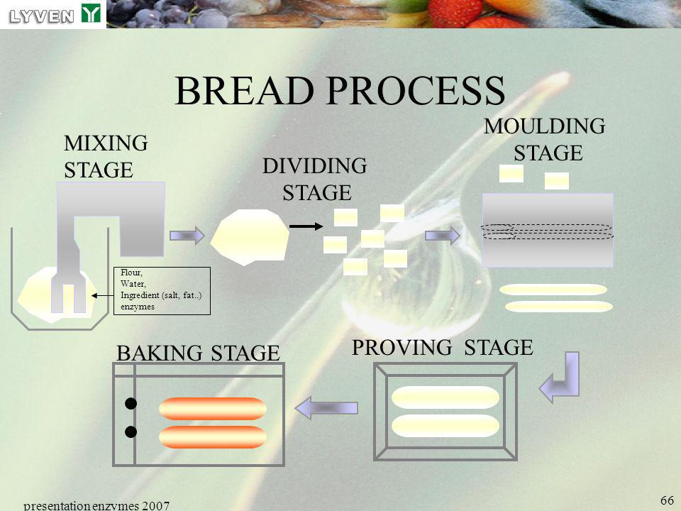 presentation enzymes 2007 66 BREAD PROCESS MOULDING STAGE PROVING STAGE MIXING STAGE DIVIDING STAGE BAKING STAGE Flour, Water, Ingredient (salt, fat..