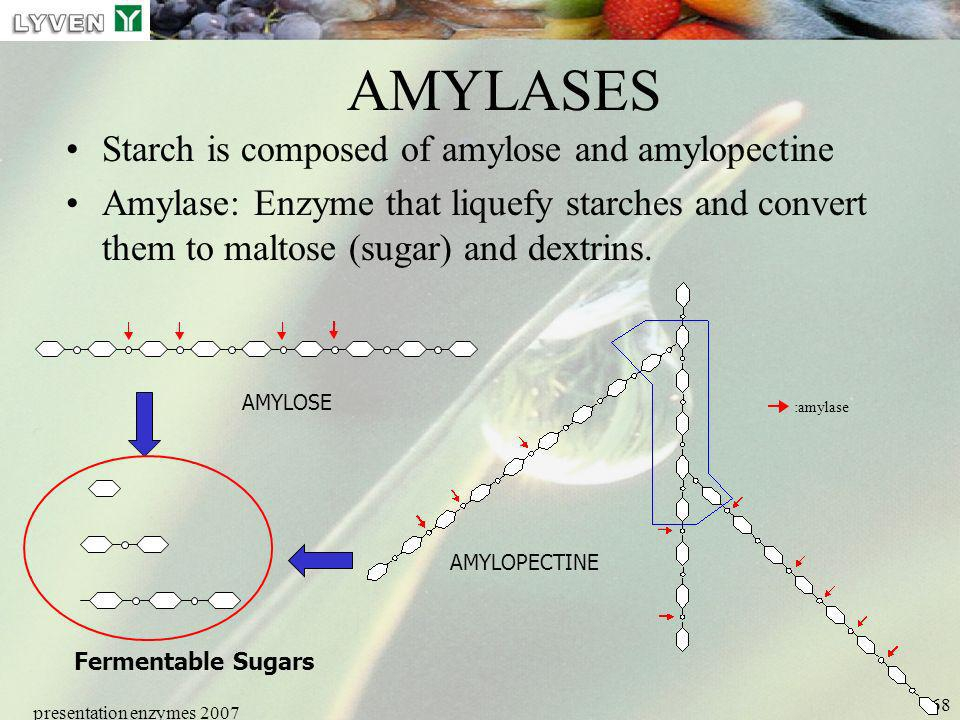 presentation enzymes 2007 68 AMYLASES Starch is composed of amylose and amylopectine Amylase: Enzyme that liquefy starches and convert them to maltose