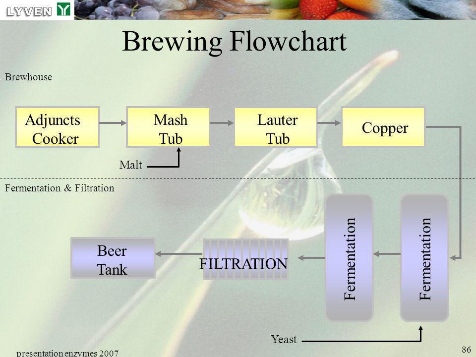 presentation enzymes 2007 86 Brewing Flowchart Adjuncts Cooker Mash Tub Lauter Tub Copper Fermentation Beer Tank FILTRATION Fermentation & Filtration