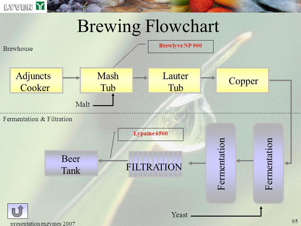 presentation enzymes 2007 95 Brewing Flowchart Adjuncts Cooker Mash Tub Lauter Tub Copper Fermentation Beer Tank FILTRATION Fermentation & Filtration