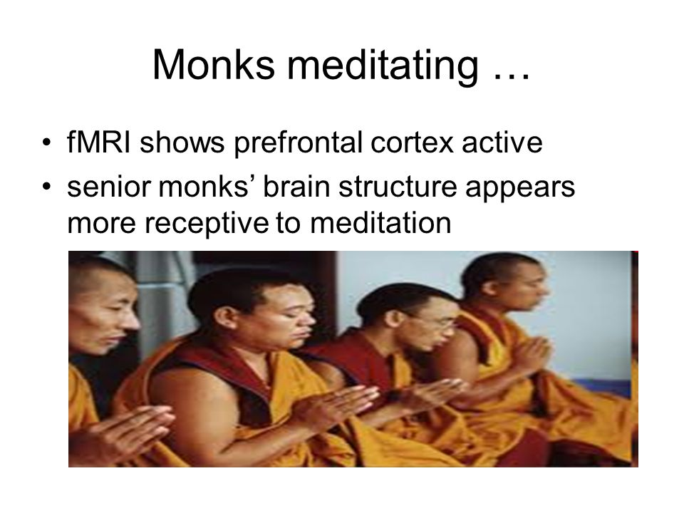Monks meditating … fMRI shows prefrontal cortex active senior monks brain structure appears more receptive to meditation
