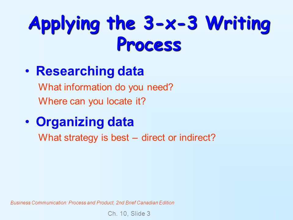 Business Communication: Process and Product, 2nd Brief Canadian Edition Ch. 10, Slide 3 Applying the 3-x-3 Writing Process Researching data What infor
