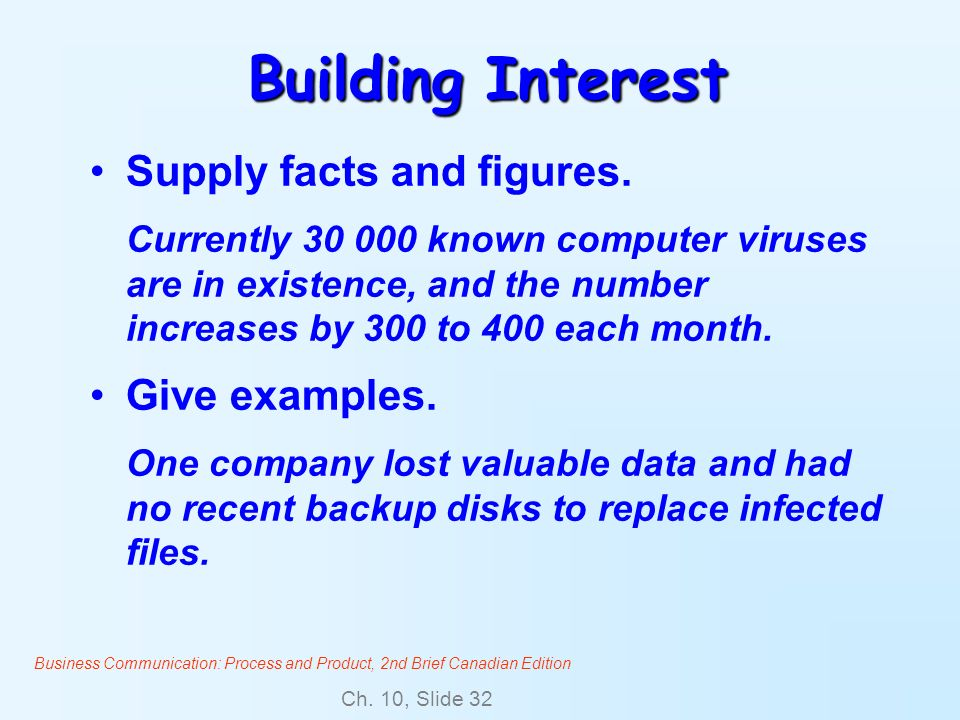Business Communication: Process and Product, 2nd Brief Canadian Edition Ch. 10, Slide 32 Building Interest Supply facts and figures. Currently 30 000