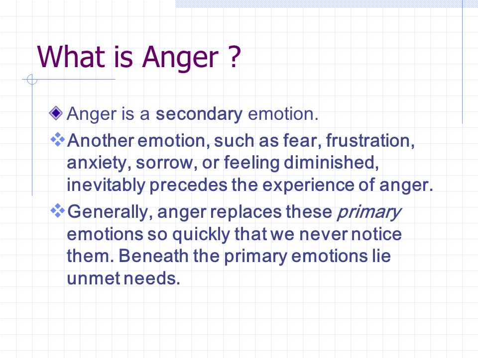 What is Anger . Anger is a secondary emotion.