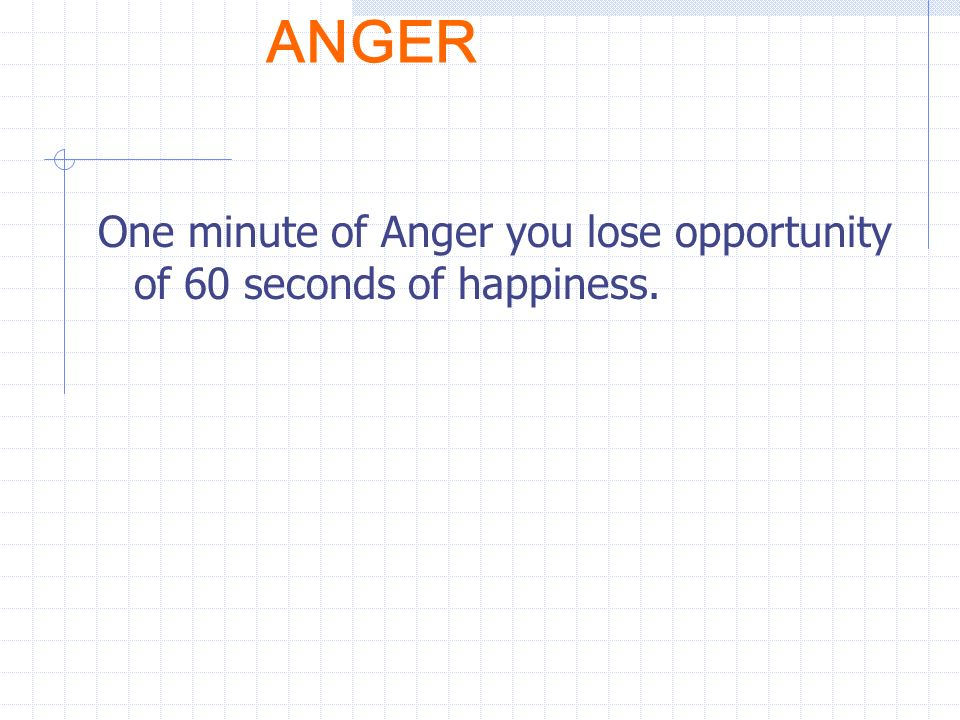 ANGER One minute of Anger you lose opportunity of 60 seconds of happiness.