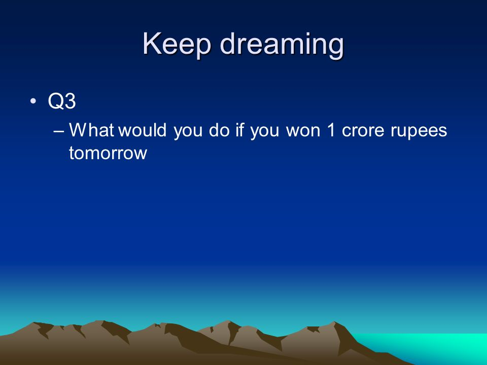 Keep dreaming Q3 –What would you do if you won 1 crore rupees tomorrow