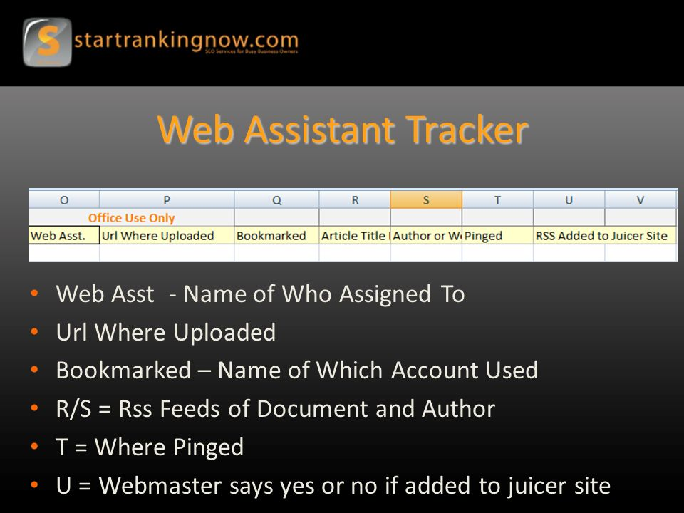 Web Assistant Tracker Web Asst - Name of Who Assigned To Url Where Uploaded Bookmarked – Name of Which Account Used R/S = Rss Feeds of Document and Author T = Where Pinged U = Webmaster says yes or no if added to juicer site