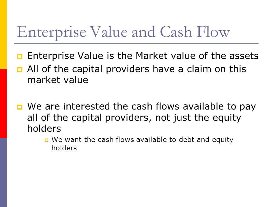 Enterprise Value and Cash Flow Enterprise Value is the Market value of the assets All of the capital providers have a claim on this market value We ar