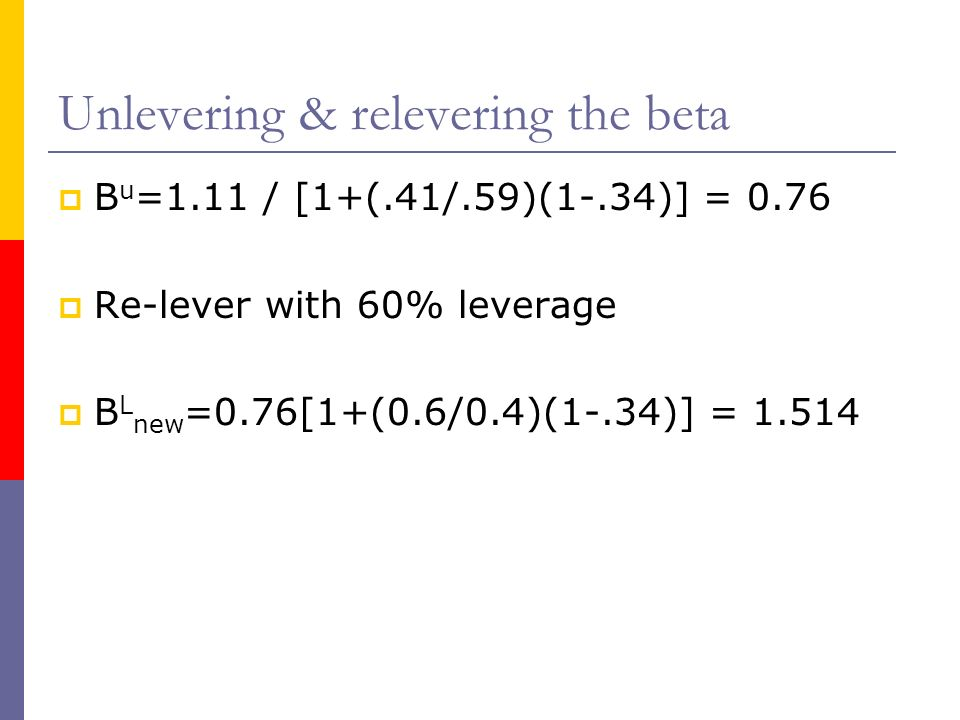 Unlevering & relevering the beta B u =1.11 / [1+(.41/.59)(1-.34)] = 0.76 Re-lever with 60% leverage B L new =0.76[1+(0.6/0.4)(1-.34)] = 1.514