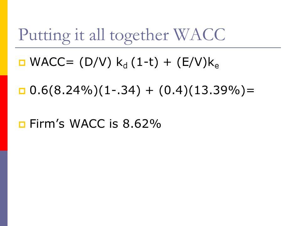 Putting it all together WACC WACC= (D/V) k d (1-t) + (E/V)k e 0.6(8.24%)(1-.34) + (0.4)(13.39%)= Firms WACC is 8.62%