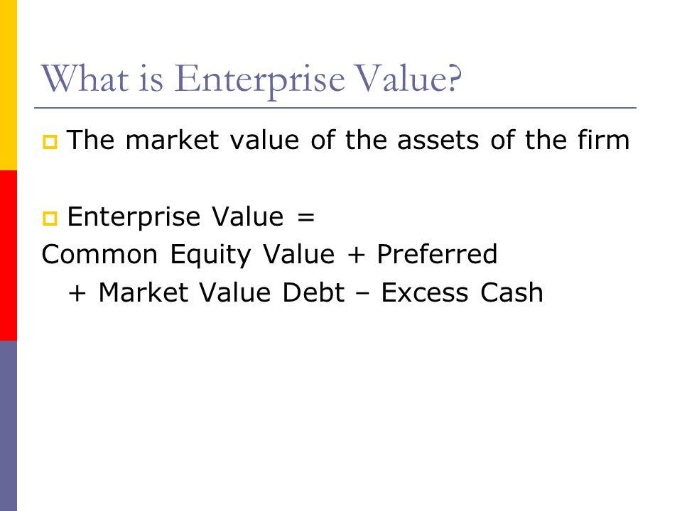 What is Enterprise Value? The market value of the assets of the firm Enterprise Value = Common Equity Value + Preferred + Market Value Debt – Excess C