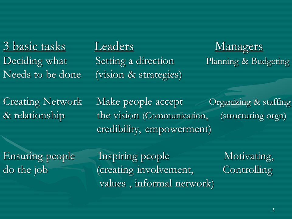 3 3 basic tasks Leaders Managers Deciding what Setting a direction Planning & Budgeting Needs to be done (vision & strategies) Creating Network Make p