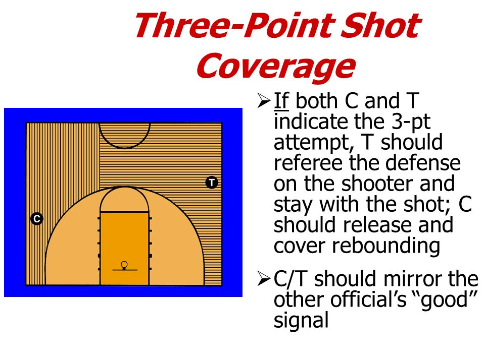 Three-Point Shot Coverage If both C and T indicate the 3-pt attempt, T should referee the defense on the shooter and stay with the shot; C should rele