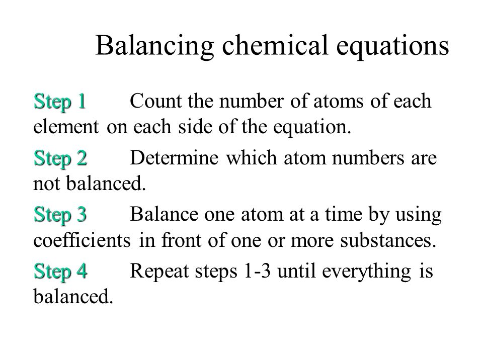 Balancing chemical equations Each side of a chemical equation must have the same number of each type of atom. –CaCO 3 (s) CaO (s) + CO 2 (g) –Reactant