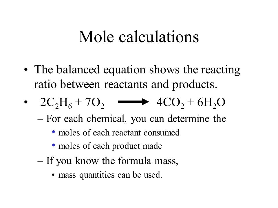 Stoichiometry, General steps. 1 1 Balance the chemical equation. 3 3 Convert masses to moles. 2 2 Calculate formula masses. 4 4 Use chemical equation