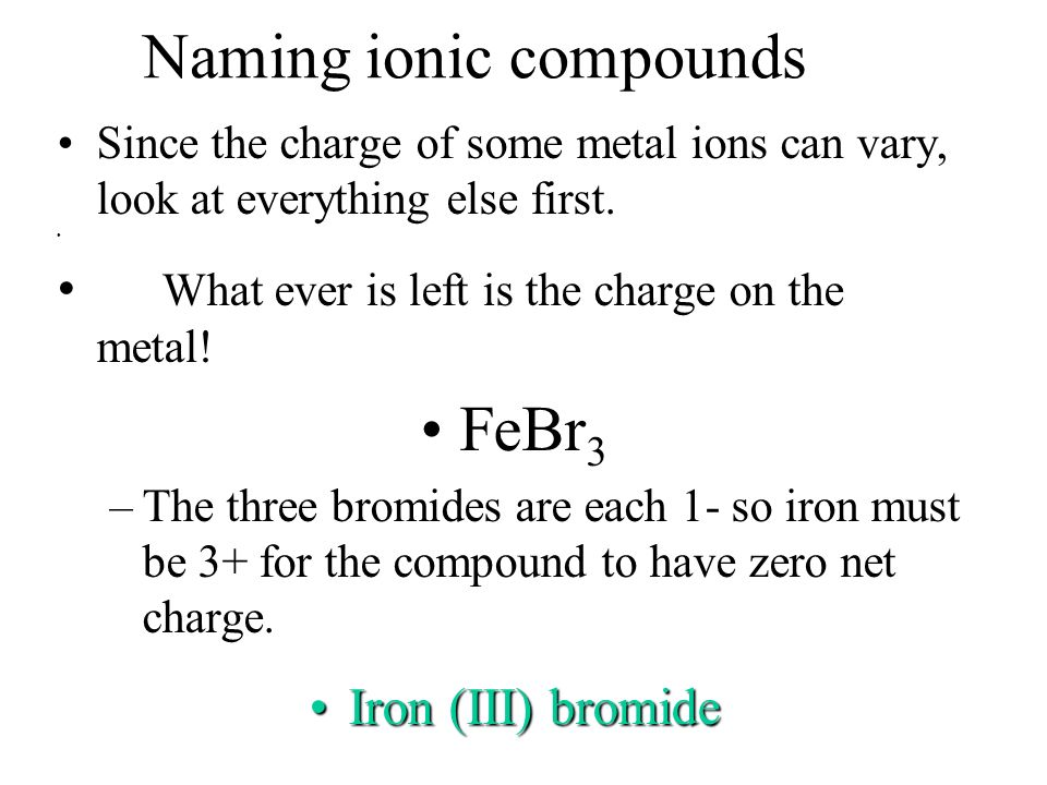 Naming ionic compounds Many metals form more than one compound with some anions. For these, Roman numerals are used in the name to indicate the charge