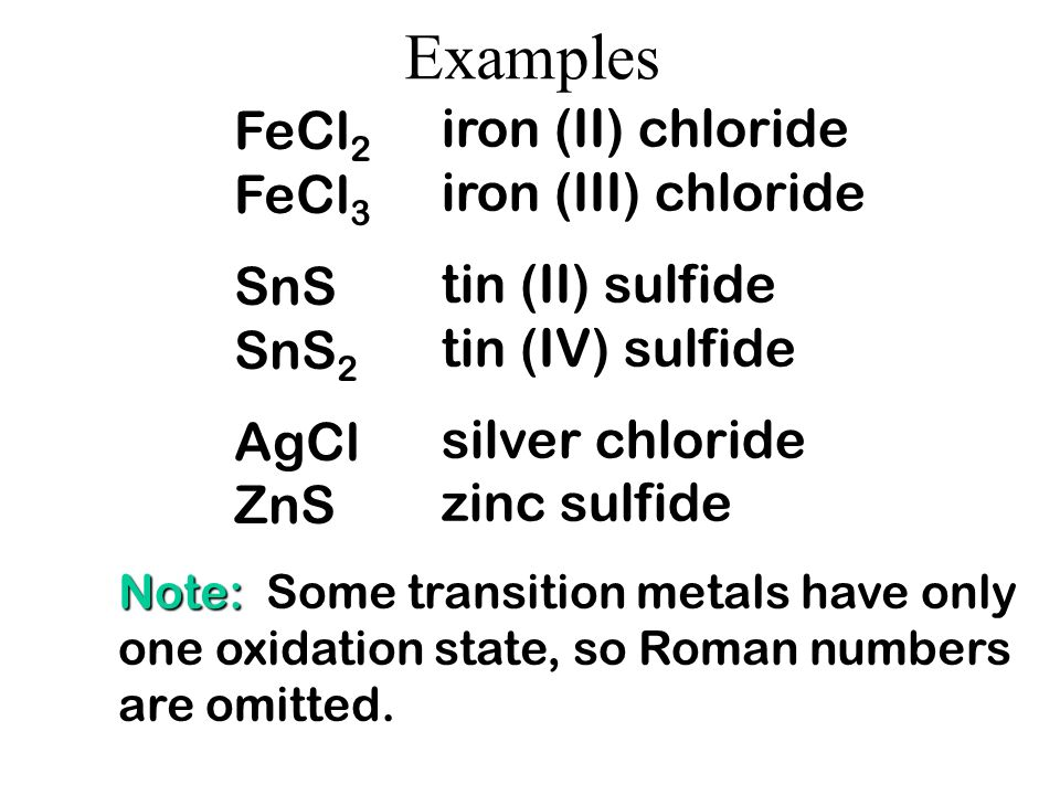 Naming ionic compounds Since the charge of some metal ions can vary, look at everything else first. What ever is left is the charge on the metal! FeBr