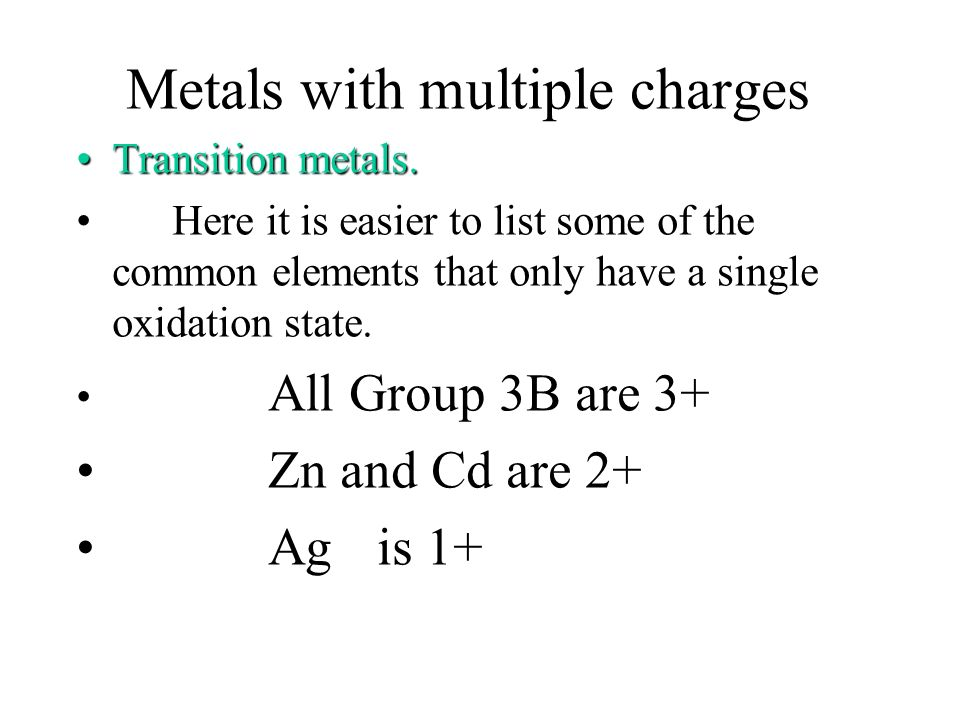 Examples FeCl 2 FeCl 3 SnS SnS 2 AgCl ZnS Note: Note: Some transition metals have only one oxidation state, so Roman numbers are omitted. iron (II) ch