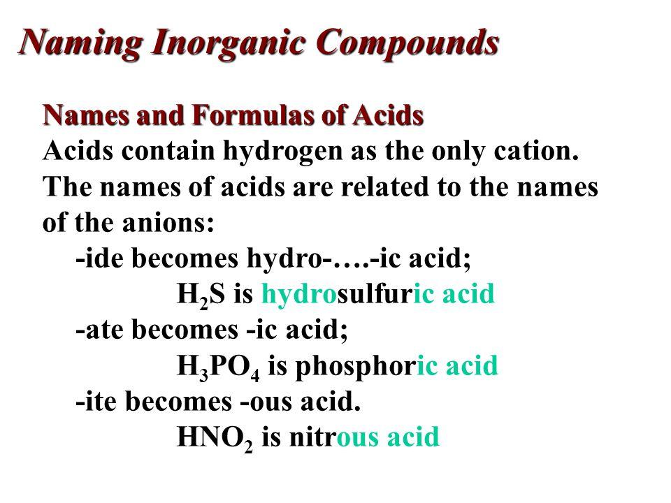 Salt Name Formula Acid Name Formula Acid Name Formula Sodium acetate NaC 2 H 3 O 2 Acetic acid HC 2 H 3 O 2 Sodium chloride NaCl Hydrochloric acid HCl