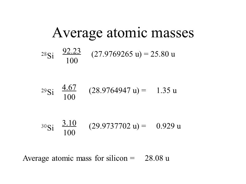 Average atomic masses One can calculate the average atomic weight of an element if the abundance of each isotope for that element is known. Silicon ex
