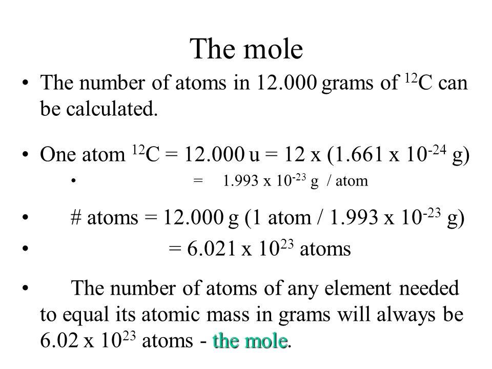 Average atomic masses 92.23 100 (27.9769265 u) = 25.80 u 4.67 100 (28.9764947 u) = 1.35 u 3.10 100 (29.9737702 u) = 0.929 u 28 Si 29 Si 30 Si Average