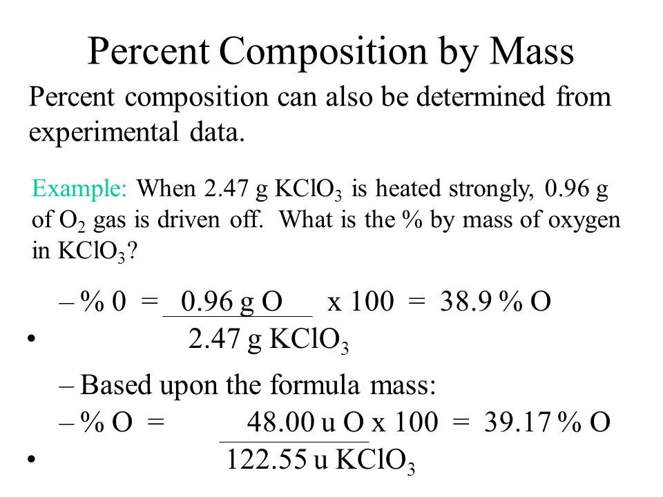 Masses of atoms and molecules Law of Definite Composition Law of Definite Composition - compounds always have a definite proportion of the elements th