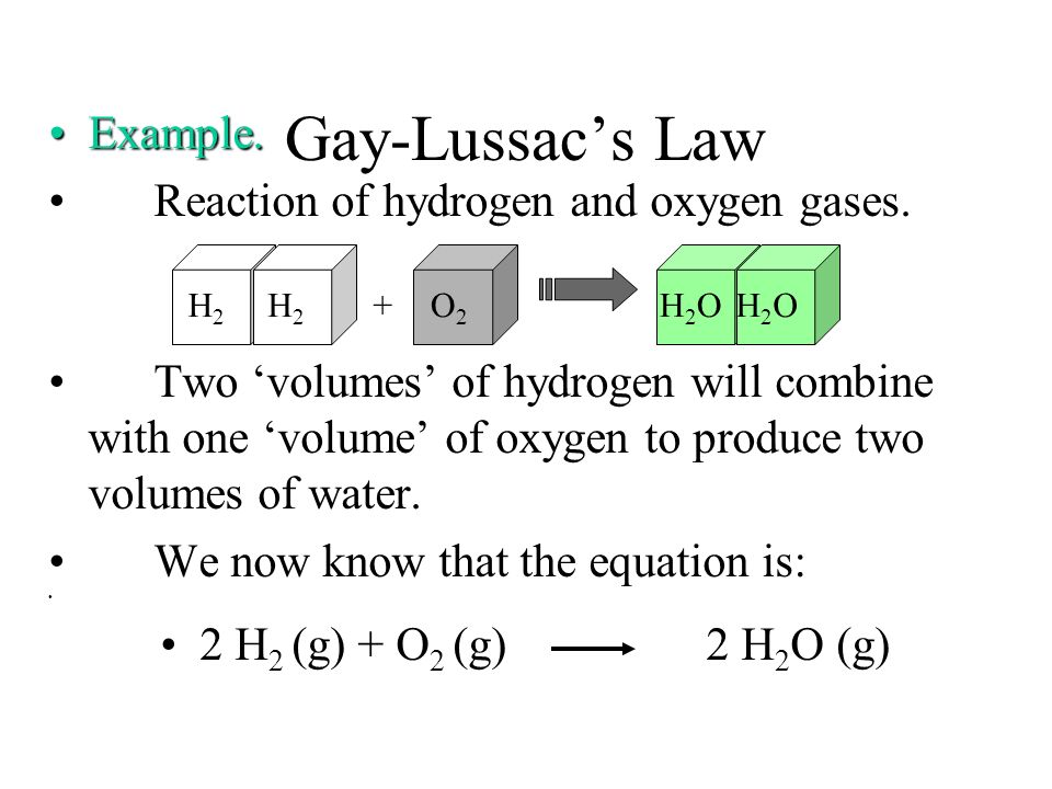 Gay-Lussacs Law Law of of Combining Volumes.Law of of Combining Volumes. At constant temperature and pressure, the volumes of gases involved in a chem