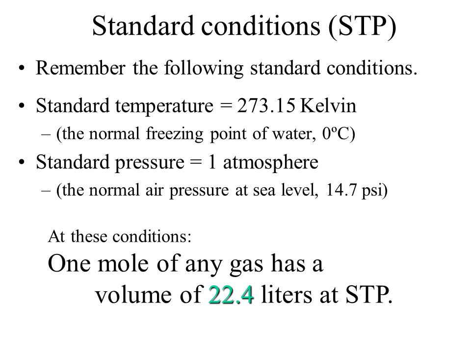 Avogadros law Equal volumes of gas at the same temperature and pressure contain equal numbers of molecules (or moles of molecules). Contain same numbe