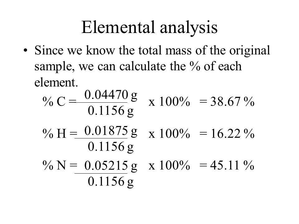 Elemental analysis Mass of carbonMass of carbon Mass of hydrogenMass of hydrogen Mass of nitrogenMass of nitrogen 0.1638 g CO 2 12.01 g C 44.01 g CO 2