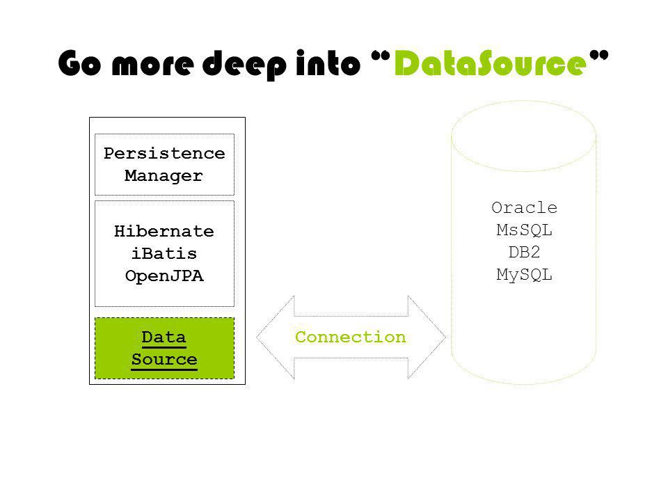 Go more deep into DataSource DB Connection Data Source Hibernate iBatis OpenJPA Persistence Manager Oracle MsSQL DB2 MySQL
