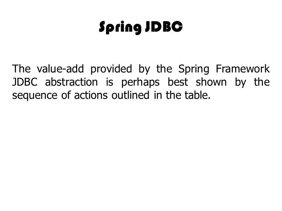 Spring JDBC The value-add provided by the Spring Framework JDBC abstraction is perhaps best shown by the sequence of actions outlined in the table.
