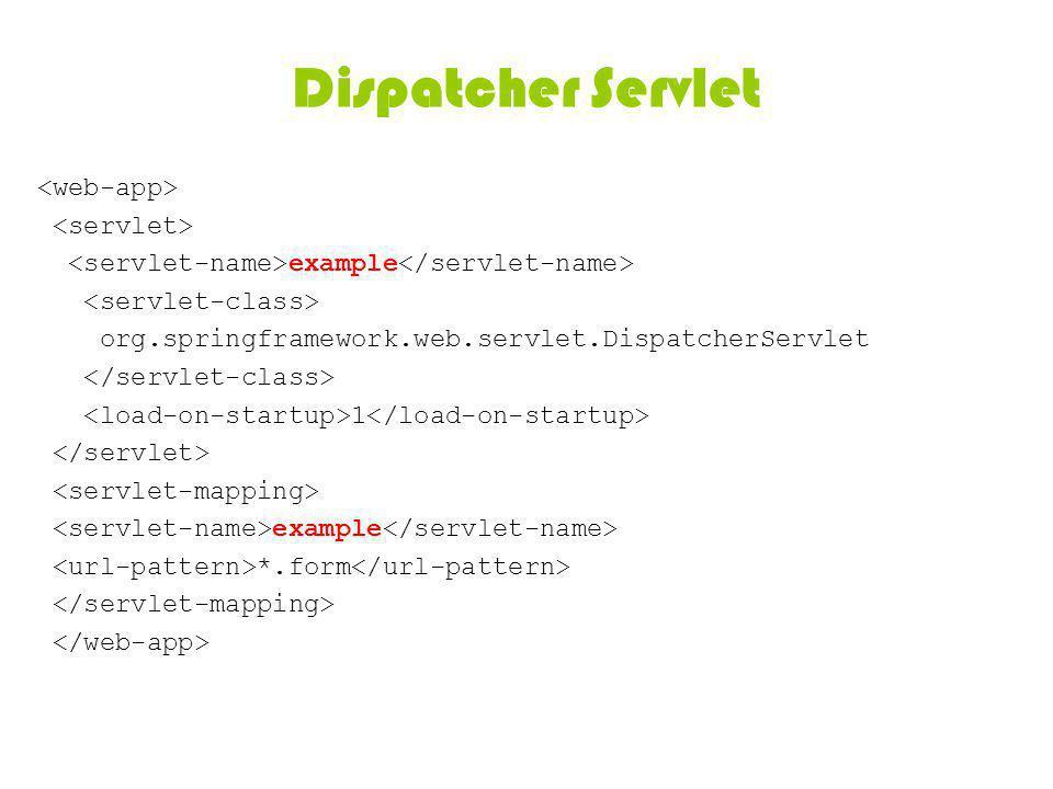 Dispatcher Servlet example org.springframework.web.servlet.DispatcherServlet 1 example *.form