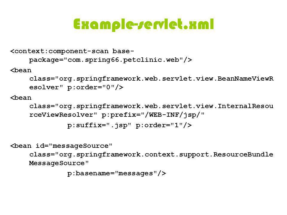 Example-servlet.xml <bean class= org.springframework.web.servlet.view.InternalResou rceViewResolver p:prefix= /WEB-INF/jsp/ p:suffix= .jsp p:order= 1 /> <bean id= messageSource class= org.springframework.context.support.ResourceBundle MessageSource p:basename= messages />