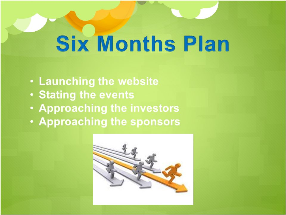 Launching the website Stating the events Approaching the investors Approaching the sponsors
