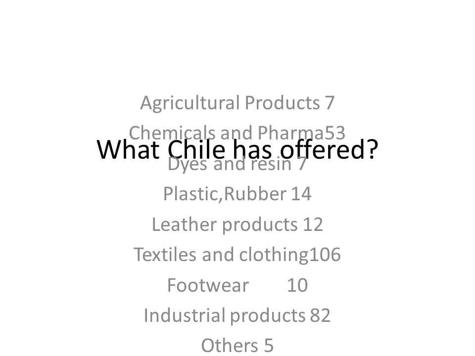 What Chile has offered? Agricultural Products 7 Chemicals and Pharma53 Dyes and resin 7 Plastic,Rubber 14 Leather products 12 Textiles and clothing106