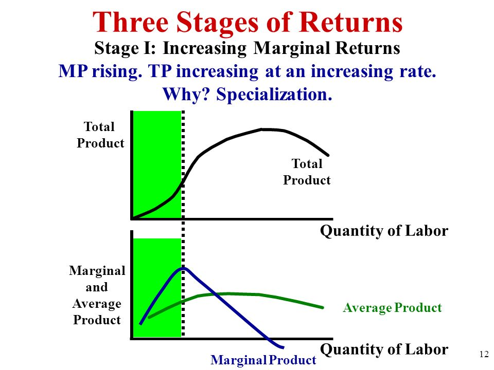 Three Stages of Returns Total Product Quantity of Labor Marginal and Average Product Quantity of Labor Total Product Stage I: Increasing Marginal Retu