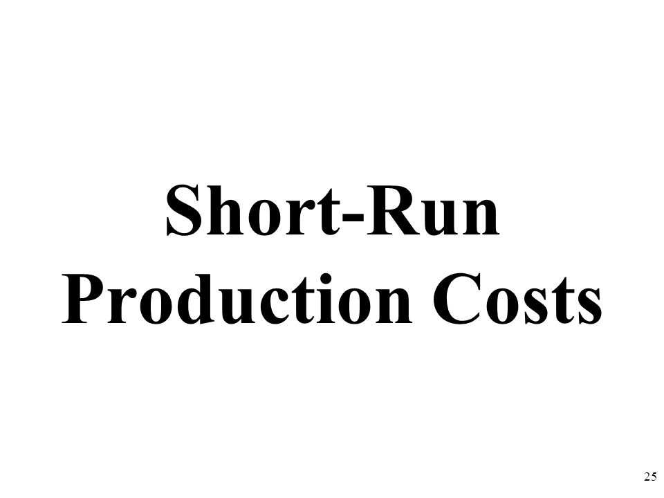 Short-Run Production Costs 25