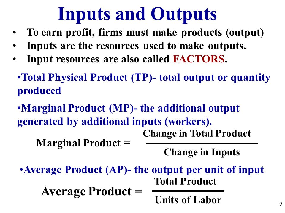 Inputs and Outputs To earn profit, firms must make products (output) Inputs are the resources used to make outputs. Input resources are also called FA