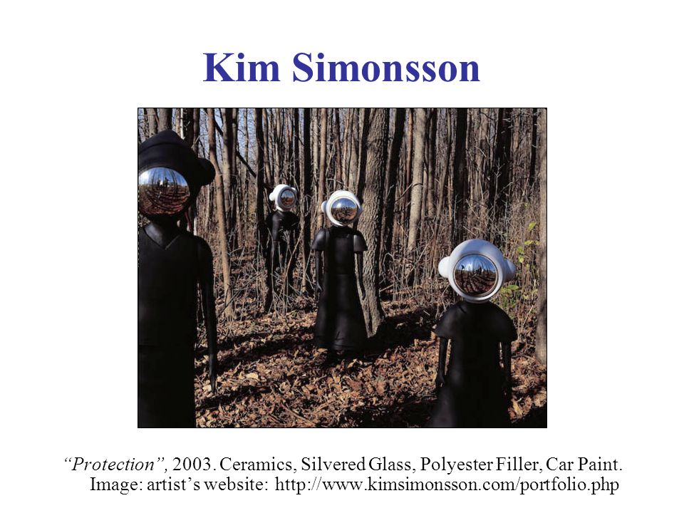 Kim Simonsson Protection, 2003. Ceramics, Silvered Glass, Polyester Filler, Car Paint.