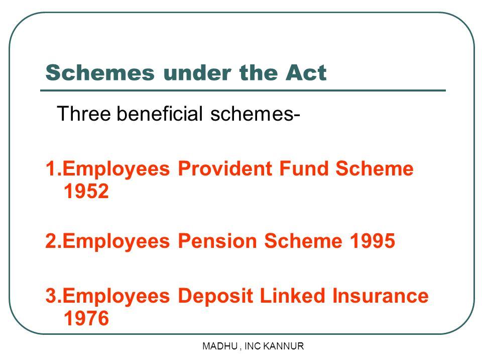 MADHU, INC KANNUR Schemes under the Act Three beneficial schemes- 1.Employees Provident Fund Scheme 1952 2.Employees Pension Scheme 1995 3.Employees D