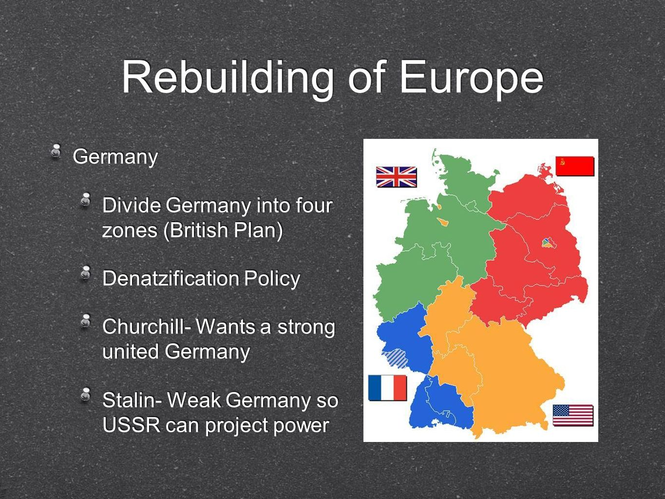 Rebuilding of Europe Germany Divide Germany into four zones (British Plan) Denatzification Policy Churchill- Wants a strong united Germany Stalin- Wea