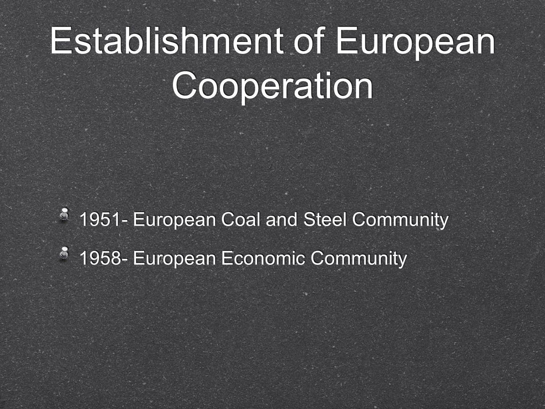 Establishment of European Cooperation 1951- European Coal and Steel Community 1958- European Economic Community 1951- European Coal and Steel Communit