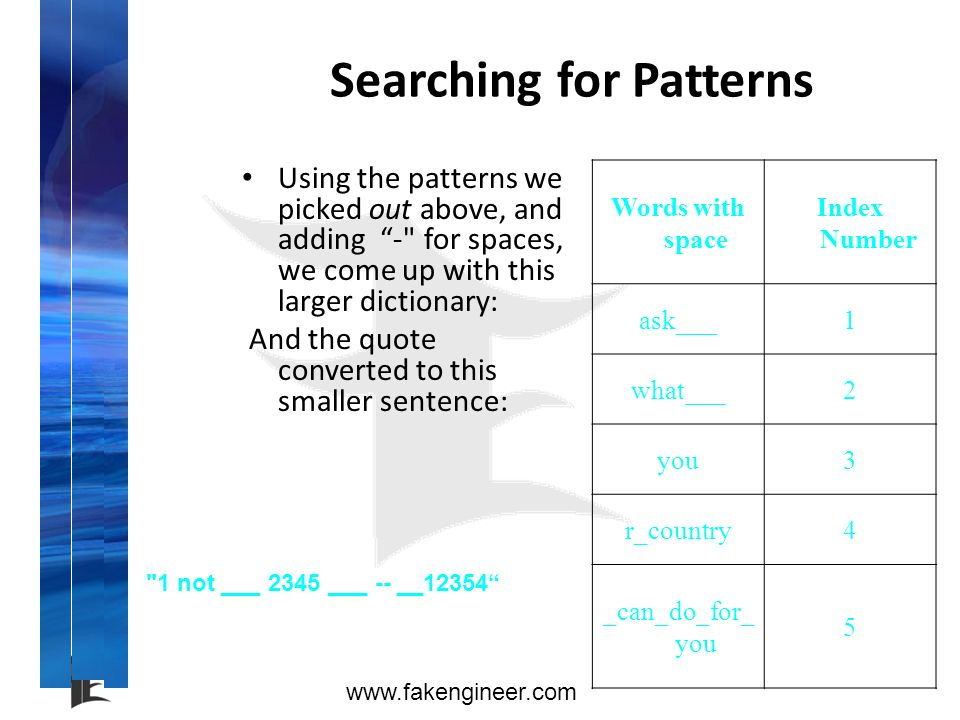 www.fakengineer.com Searching for Patterns Using the patterns we picked out above, and adding -