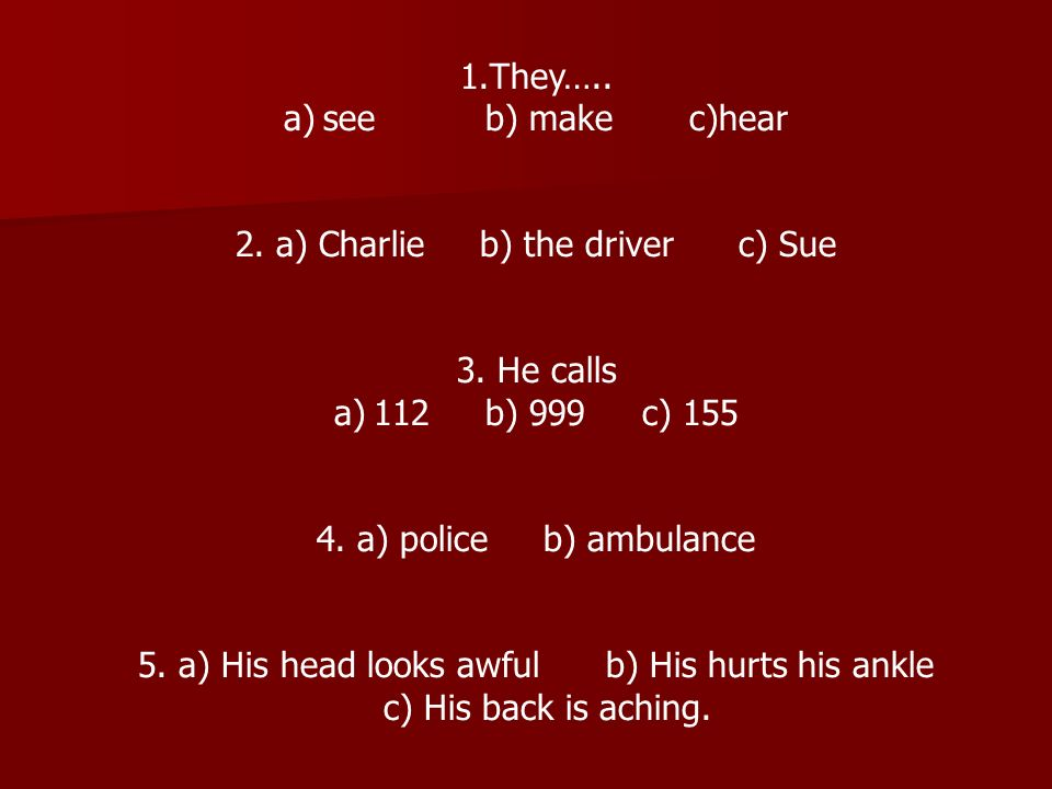 1.They….. a)see b) make c)hear 2. a) Charlie b) the driver c) Sue 3.