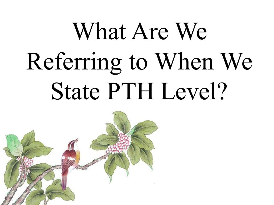 What Are We Referring to When We State PTH Level?