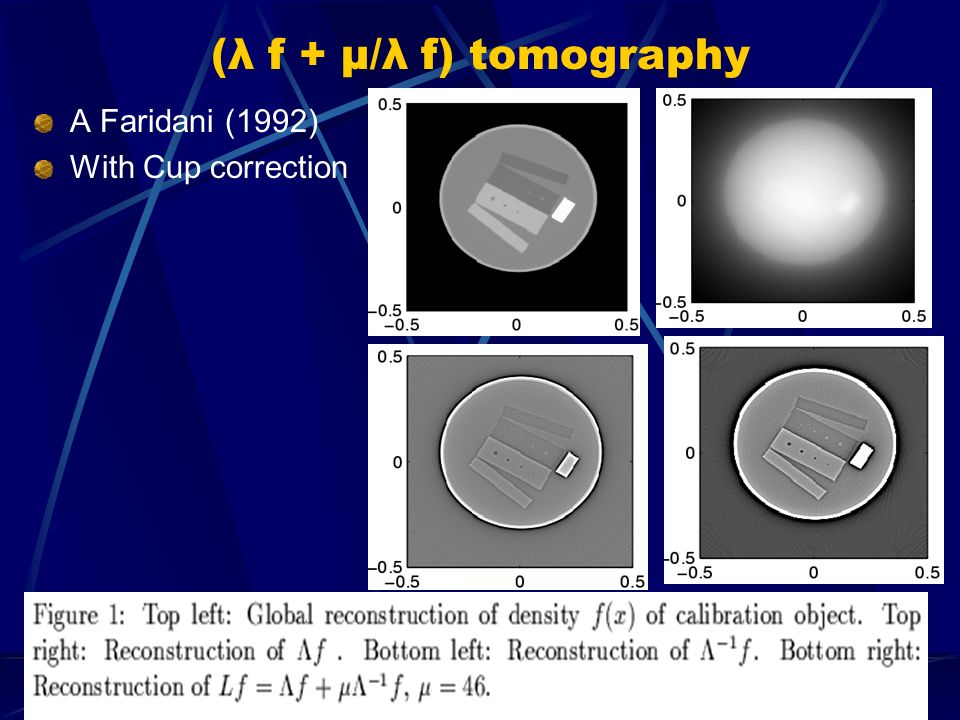 (λ f + μ/λ f) tomography A Faridani (1992) With Cup correction