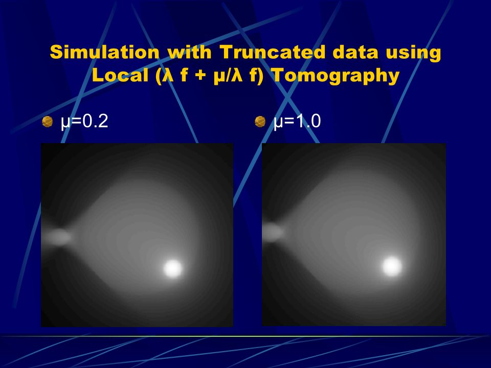 Simulation with Truncated data using Local (λ f + μ/λ f) Tomography μ=0.2μ=1.0