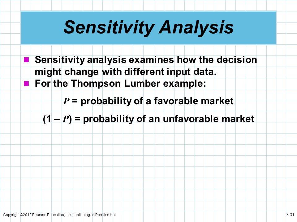 Copyright ©2012 Pearson Education, Inc. publishing as Prentice Hall 3-31 Sensitivity Analysis Sensitivity analysis examines how the decision might cha