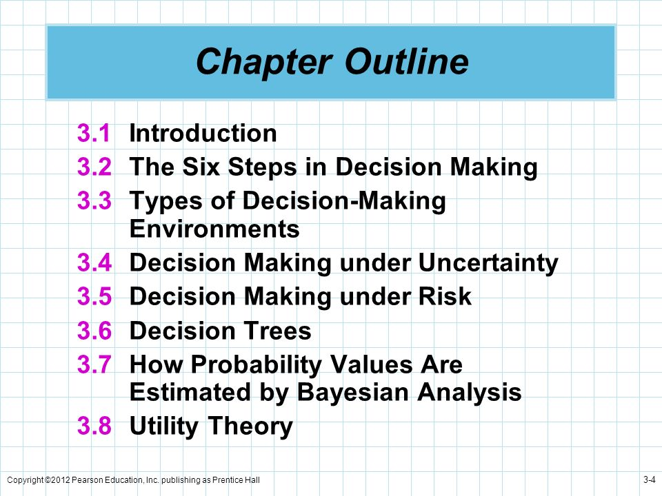 Copyright ©2012 Pearson Education, Inc. publishing as Prentice Hall 3-4 Chapter Outline 3.1 Introduction 3.2 The Six Steps in Decision Making 3.3 Type