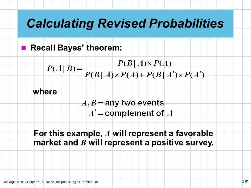 Copyright ©2012 Pearson Education, Inc. publishing as Prentice Hall 3-53 Calculating Revised Probabilities Recall Bayes theorem: where For this exampl